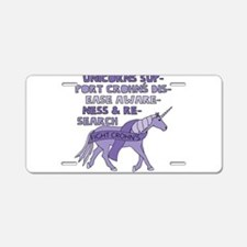 Unicorns Support Crohn's Di Aluminum License Plate