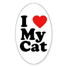 I Love My Cat Oval Decal