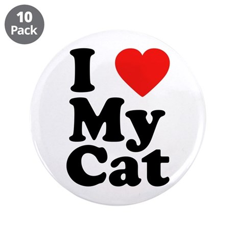 "I Love My Cat 3.5"" Button (10 pack)"