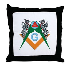 Masons 32nd Degree with Dragons Throw Pillow