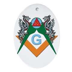 Masons 32nd Degree with Dragons Oval Ornament