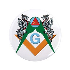 """Masons 32nd Degree with Dragons 3.5"""" Button (100 p"""