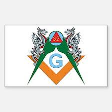 Masons 32nd Degree with Dragons Sticker (Rectangul