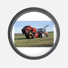 Tractor Making Hay Wall Clock