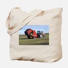 Tractor Making Hay Tote Bag