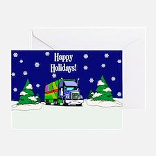 Semi Truck Happy Holidays Greeting Card