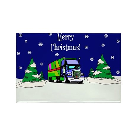 Semi Truck Merry Christmas Rectangle Magnet
