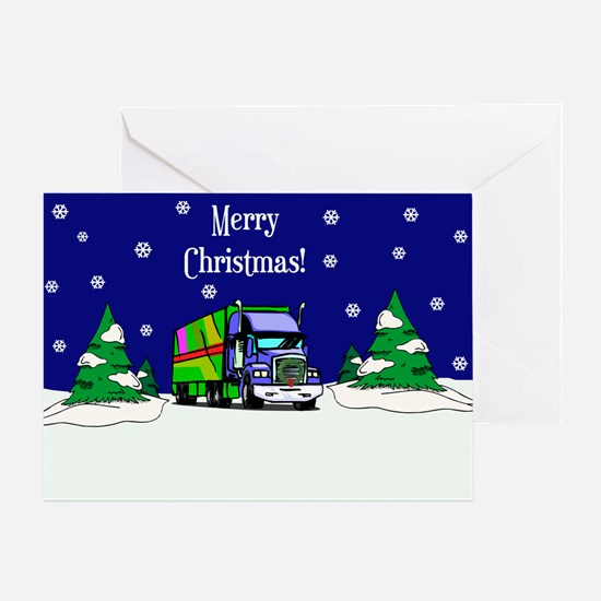 Semi Truck Merry Christmas Greeting Card