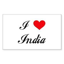 I Love India Rectangle Decal
