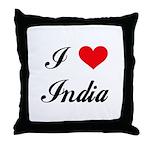 I Love India Throw Pillow
