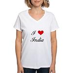I Love India Women's V-Neck T-Shirt