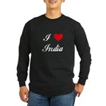 I Love India Long Sleeve Dark T-Shirt
