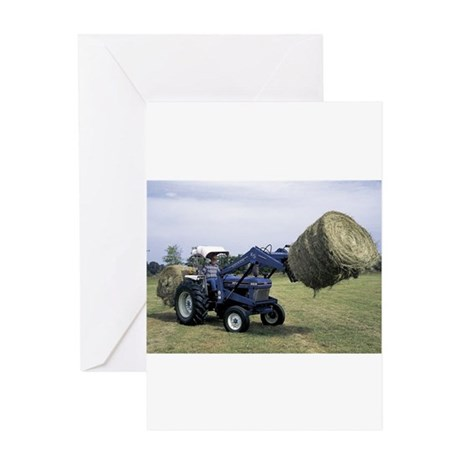 Tractor Hauling Hay Greeting Card