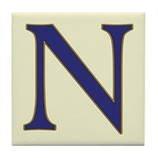 Spanish Blue Letter N Tile