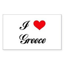I Love Greece Rectangle Decal