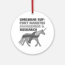 Unicorns Support Diabetes Awareness Round Ornament