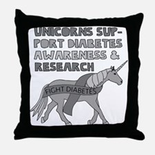 Unicorns Support Diabetes Awareness Throw Pillow
