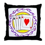 Hot Aces Gambler Throw Pillow
