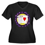 Hot Aces Gambler Women's Plus Size V-Neck Dark T-S