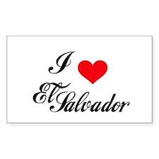 I Love El Salvador Rectangle Decal