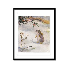 1927 Christmas Bunny Framed Panel Print