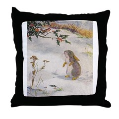 1927 Christmas Bunny Throw Pillow