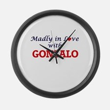 Madly in love with Gonzalo Large Wall Clock