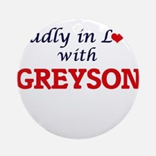 Madly in love with Greyson Round Ornament