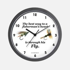 """""""The Way to a Fisherman's Heart"""" Wall Clock"""