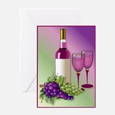 Wine & Grapes Still Life Greeting Card