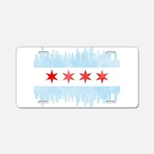 Chicago Skyline Flag Aluminum License Plate