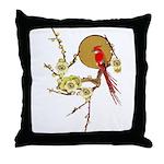 Red Cardinal Bird w/ Blossoms Square Throw Pillow