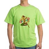 Pin up girl motorcycle Green T-Shirt