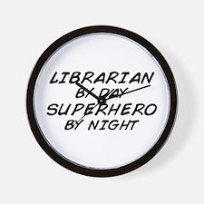 Librarian Superhero by Night Wall Clock