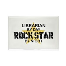 Librarian RockStar by Night Rectangle Magnet