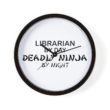 Librarian Deadly Ninja by Night Wall Clock