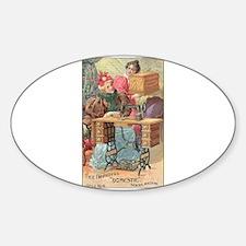 Vintage Sewing Machine Ad Oval Sticker (10 pk) Sti
