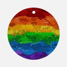 Rainbow Paint Splatter Flag Round Ornament