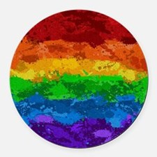 Rainbow Paint Splatter Flag Round Car Magnet