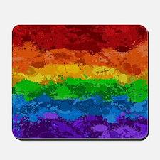 Rainbow Paint Splatter Flag Mousepad