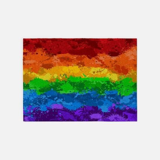 Rainbow Paint Splatter Flag 5'x7'Area Rug