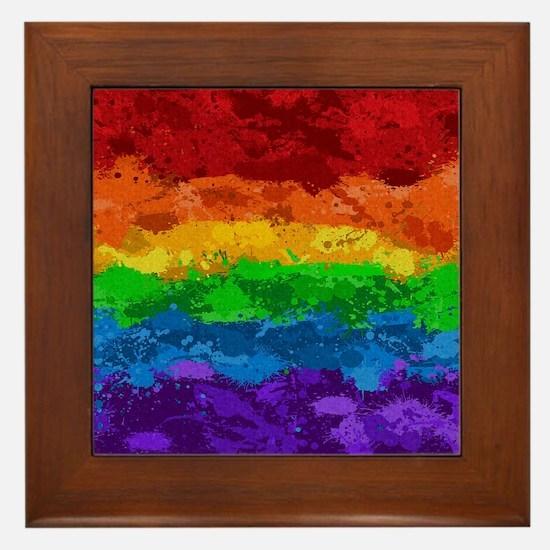 Rainbow Paint Splatter Flag Framed Tile
