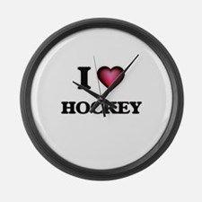 I love Hockey Large Wall Clock