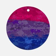 Bisexual Paint Splatter Flag Round Ornament