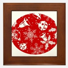 Red Christmas Pattern Framed Tile