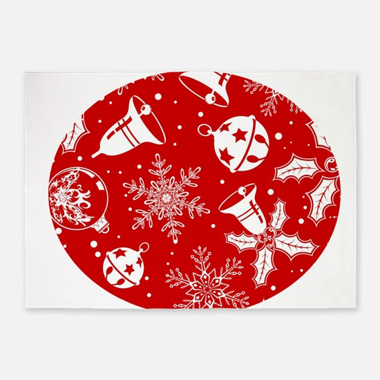 Red Christmas Pattern 5'x7'Area Rug