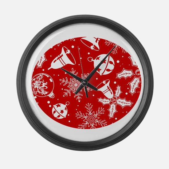 Red Christmas Pattern Large Wall Clock