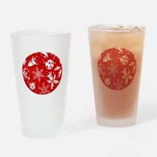 Red Christmas Pattern Drinking Glass