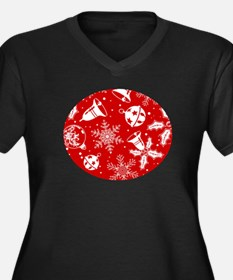 Red Christmas Pattern Plus Size T-Shirt