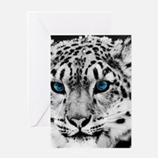 Leopardo Snow Greeting Cards